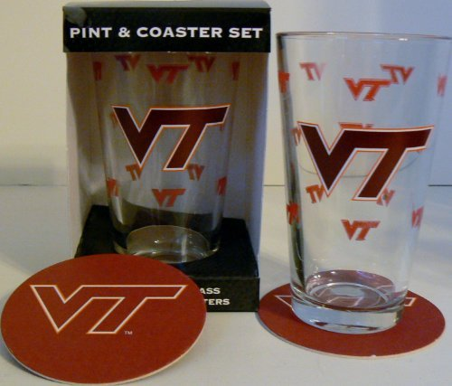 NCAA Officially Licensed Virginia Tech Hokies Pint and Coaster ()