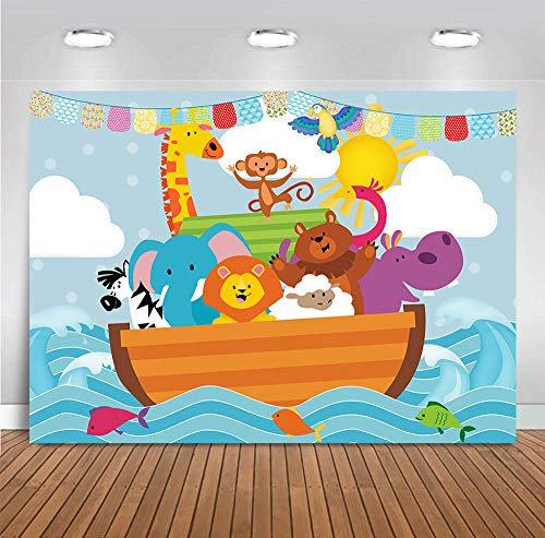 Cartoon Noah's Ark Sea Photography Backdrops Vinyl 7x5ft Wild Safari Animals Zoo Photo Backgrounds Baby Shower Party Banner Decoration Supplies for Children Birthday Cake Table Photo Booth ()