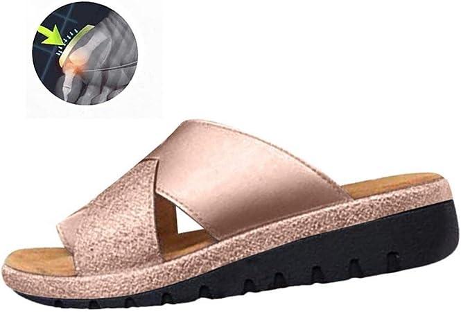 GRASSAIR Sandalias de Las Mujeres, Zapatos de corrección del Dedo Gordo del pie Mujer Verano Playa Viajes PU Zapatillas de Cuero Juanetes Corrector Punta Abierta Sandalia,Gold,39: Amazon.es: Hogar