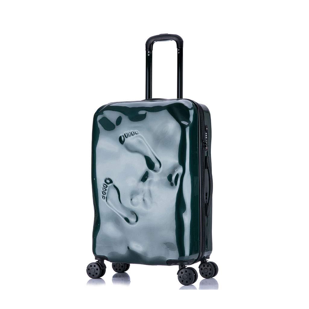 ハードシェルトロリートラベルケーススーツケースハード&フレキシブルケース持ち運び可能な調節可能なハンドル360回転ホイール(5色)  Dark green B07MPZY2V8