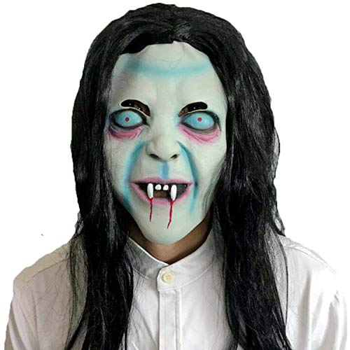 Halloween Horror Latex Head Mask Grudge Sadako with Wig Toothy Zombie Grimace Ghost Mask Scary Emulsion Skin with Hair