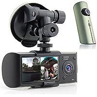 Indigi HD Dual Camera Driving Recorder 2.7 LCD Dash-Cam Car DVR w/ GPS Logger G-Sensor