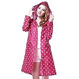 Persmileful Women's Waterproof Polyester Pink Raincoat Hooded Casual Fashion Rainwear Rain Jacket with Polka Dot Pattern