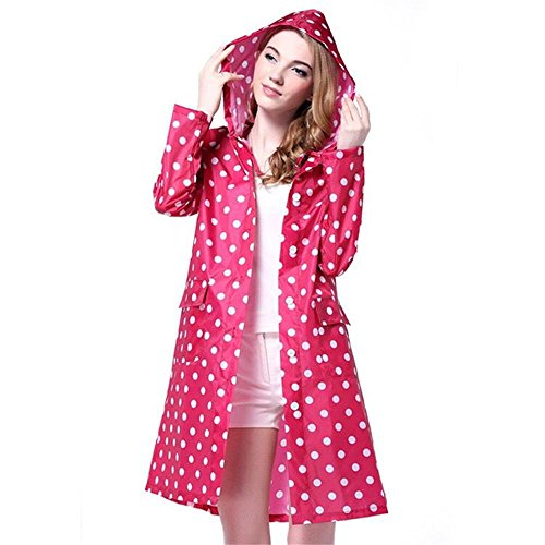 - Persmileful Women's Waterproof Polyester Pink Raincoat Hooded Casual Fashion Rainwear Rain Jacket with Polka Dot Pattern