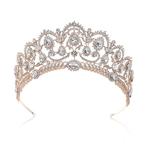 (SWEETV Rose Gold Crown Queen Tiara Rhinestone Headpieces for Women Crystal Hair)