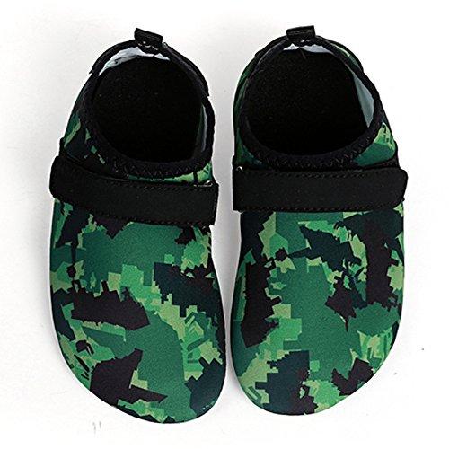 Barerun Kids Quick-Dry Wasserschuhe Leichte Aqua Socken für Beach Pool Surf Yoga Übung Grün