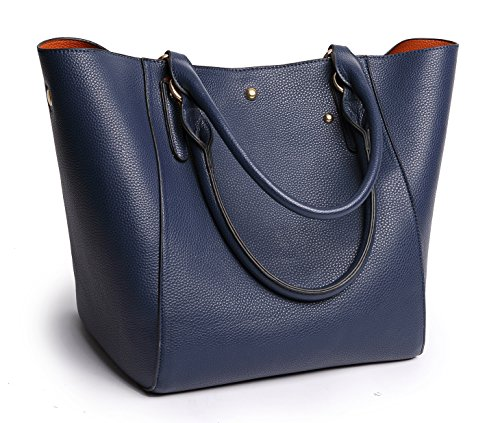 Obosoyo Women's Waterproof Handbags ladies Synthetic Leather Tote Shoulder Bags Fashion Travelling Mommy Soft Hot Navy (Blue Tote)