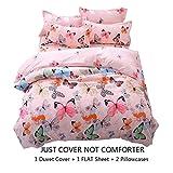 Lemontree Butterfly Bedding Set- Girls Soft Bedding Duvet Cover Set-Pink Butterflies Floral Patterns,Hypoallergenic,Microfiber -1 Duvet Cover + 1 FLAT Sheet + 2 Pillowcases JUST COVER NOT COMFORTER