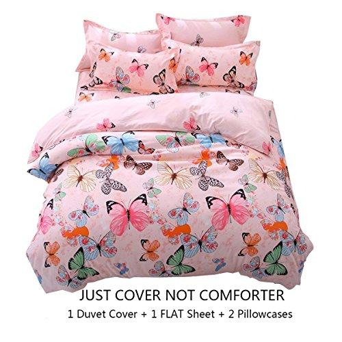 Best Deals! Lemontree Butterfly Bedding Set- Girls Soft Duvet COVER Set-Pink Butterflies Floral Patt...