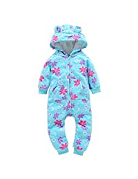 0-24 Months Christmas Outfit Toddler Infant Baby Boys Girls Thicker Hooded Zipper Romper Jumpsuit Pockets Kids Clothes