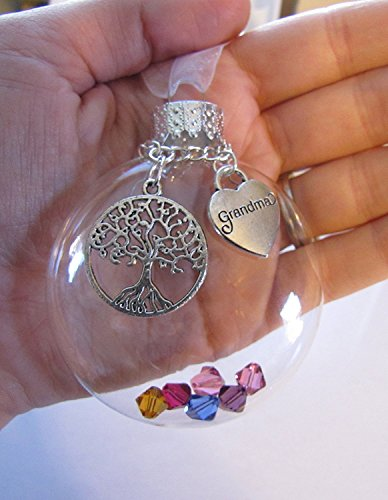 (Custom Glass Ornament Tree Of Life, Grandma Heart Charm, Family Swarovski Birthstone Crystals, Grandma Grandmother Mother's Day Gift)
