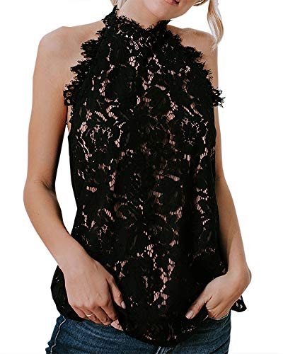 (Valphsio Women's Mock Neck Sleeveless Sheer Crochet Plain Lace Top Blouse Black)