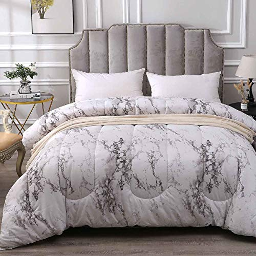 NANKO Comforter Set Queen Size Bed Set White Marble Print 3 Piece Soft Microfiber Bedding Light Weight All Season Quilted Comforter Cool Best Modern Style for Women & Men Black and Grey