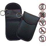 2PCS Car Key Signal Blocker- Faraday Car Keys Bag for Signal Blocking Pouch,RFID Blocker for Car Keys,Car RFID Key Carbon Fiber (A)