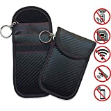 100PCS Car Key Signal Blocker- Faraday Car Keys Bag for Signal Blocking Pouch,RFID Blocker for Car Keys,Car RFID Key Carbon Fiber (A)