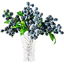 WINOMO Artificial Lifelike Blueberries Fake Mini Berries Simulation Decorative Fruit Plants (Blue)