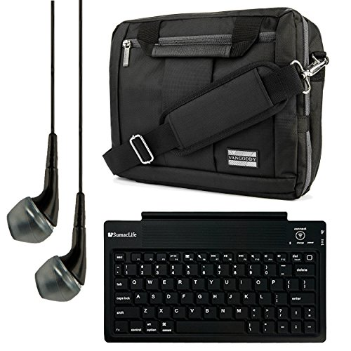 El Prado Collection 3 in 1 Backpack and Messenger Bag for NeuTab N10 Plus / K1 / N10 / N9 Pro / N9 9 to 10.1-inch Tablets + Bluetooth Keyboard + Headphones (Black) by Vangoddy
