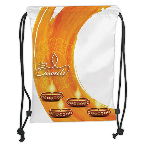 Custom Printed Drawstring Sack Backpacks Bags,Diwali Decor,Modern Graphic Diwali Festive Celebration Themed Candles on Paisley Backdrop Print,Orange Soft Satin,5 Liter Capacity,Adjustable String Closu by iPrint