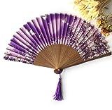 Purple Silk Butterflies Sakura Pattern Hand Fan Handheld Folding Fans Decoration Favor Outdoor Wedding Party