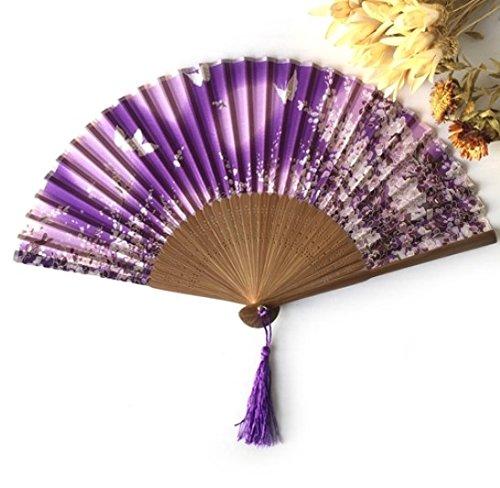 Purple Silk Butterflies Sakura Pattern Hand Fan Handheld Folding Fans Decoration Favor Outdoor Wedding Party by Hand Fan