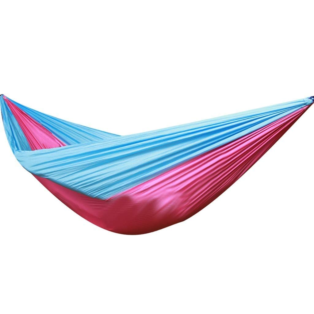 Jx Outdoor Hammock Parachute Cloth Double Couple Outdoor Camping Leisure Portable Swing Hammock (Color : Light Blue+Pink) by Jx
