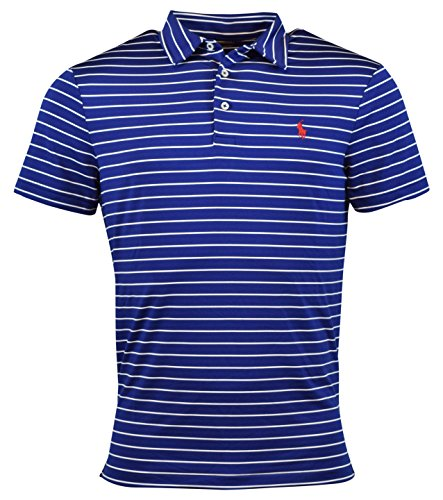 Polo Ralph Lauren Mens Performance Striped Polo Shirt - S - Sporting Royal (Polo Ralph Lauren Moisture)