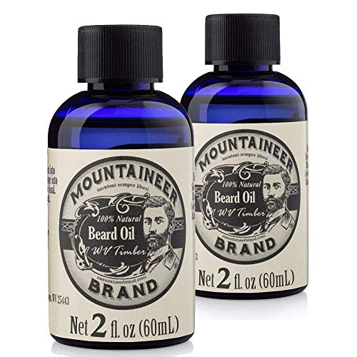 Beard Oil by Mountaineer Brand (4 fl oz total) | Premium 100% Natural Beard Conditioner (WV Timber | Two-Ounce 2 Pack)