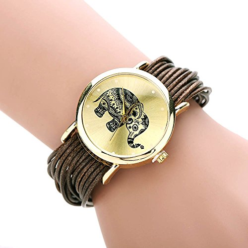 Ladies Elephant - Womens Elephant Watches,COOKI Unique Analog Fashion Lady Watches Female watches on Sale Casual Wrist Watches for Women,Round Dial Case Comfortable Faux Leather Watch-H35 (Coffee)
