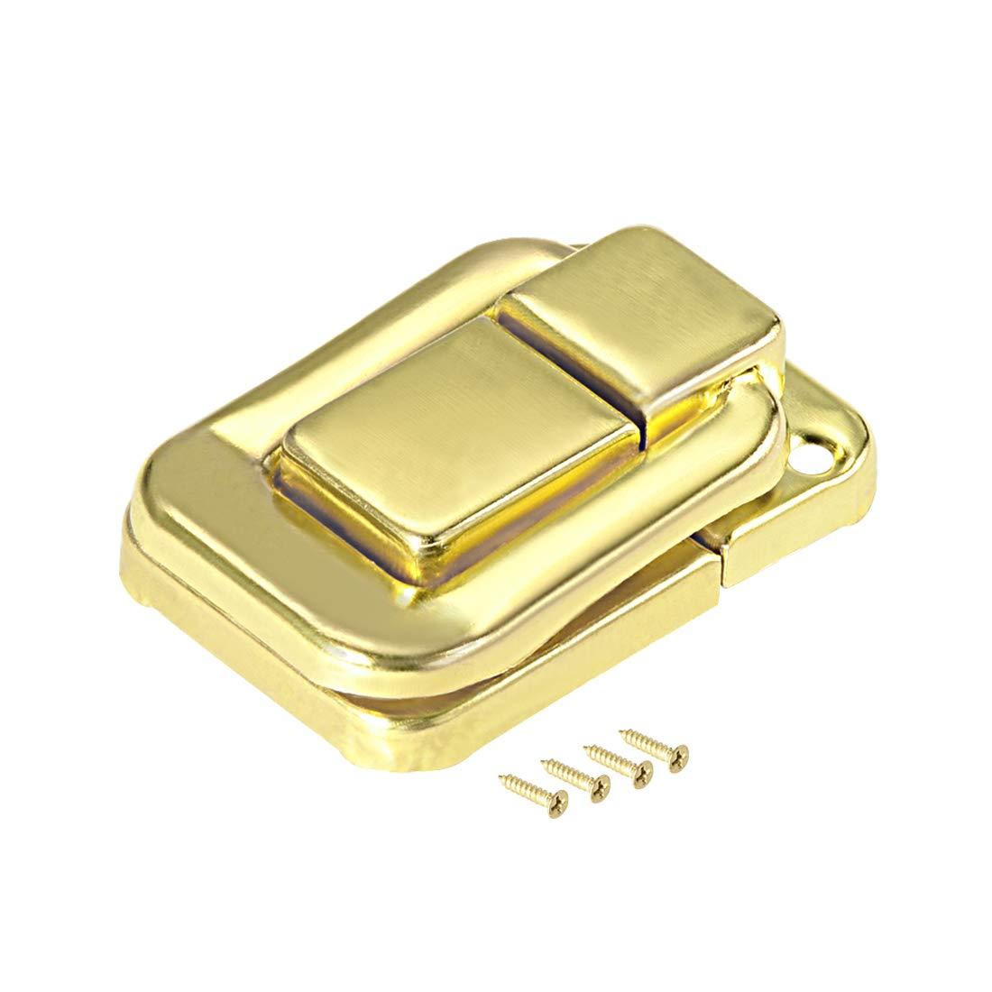sourcing map Pestillo basculante 40mm Amarillo Broche de cierre de maleta decorativo de joyas 2 PCS