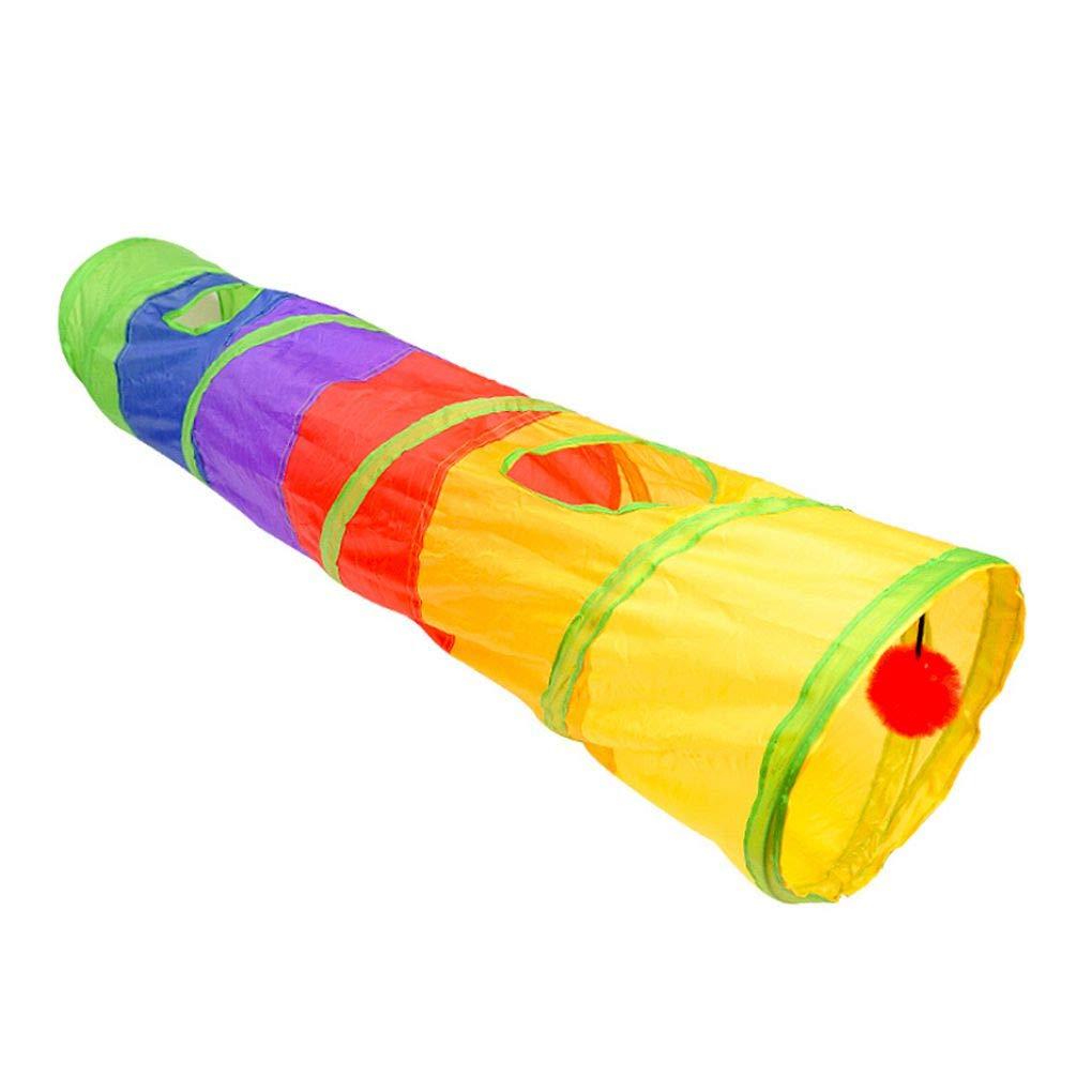 T/únel de Interior Juguete para Mascotas 2 Agujeros Jugar Tubos Bola Plegable de la Arruga Gatito Juguetes Cachorro t/únel del Juego Tubos Juguete