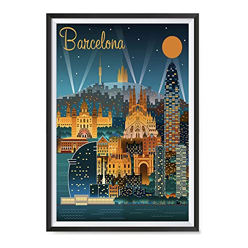 Spain Print Antique - EzPosterPrints - Retro World Famous City Posters - Decorative, Vintage, Retro, Grunge Travel Poster Printing - Wall Art Print for Home Office - Barcelona, Spain - 16X24 inches
