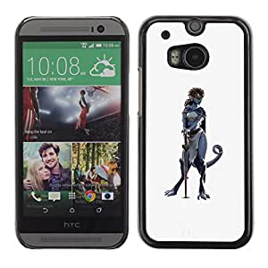 Planetar® ( Sword Hero Woman Character Cat Grey ) HTC One M8 Fundas Cover Cubre Hard Case Cover