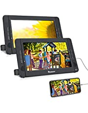 """NAVISKAUTO 10.5"""" Dual Screen Portable DVD Player for Car with HDMI Input, Two Mounting Brackets, Built-in Rechargeable Battery, Support USB Playback"""