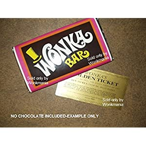 7 Ounce sized willy wonka chocolate bar wrapper and golden ticket (no chocolate)