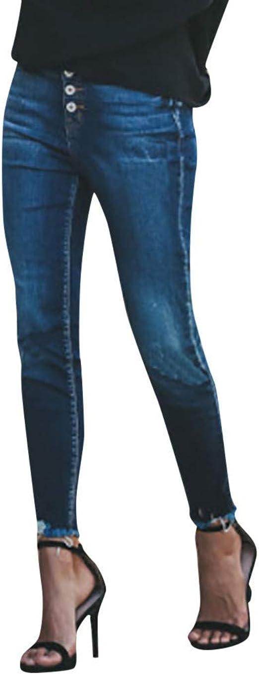 HX fashion ジーンズレディーススリムフィットスキニーフィットジーンズジョガー足上げ足首ストレート脚穴ありストレッチデニムリラックスパンツパッチパンツボタン弾性ペンシルパンツジーンズ
