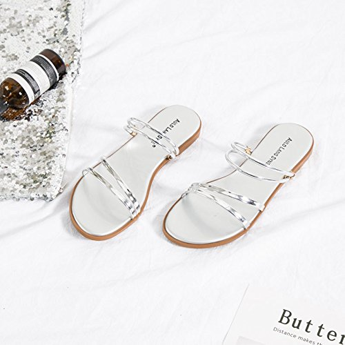 ZHANGJIA Version Non Female Two Sandals Silver Wear Slip Beach Seaside Shoe Students A Korean Xia of Simple Wild Slippers Pingdi 8rS8f