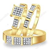 Silvernshine Jewels His And Her Trio Rings Set Yellow Gold Plated 1.60ct Sim Clear Diamonds Square Top