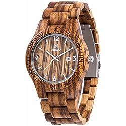 Uwood Luxury Brand Zebra Men's Sandal Wooden Watch Movement Watch Water Resistant With Bamboo Gift Box (Yellow)