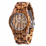 Uwood Luxury Brand Zebra Men's Sandal Wooden Watch Movement Watch Water Resistant With Bamboo Gift Box (Yellow)