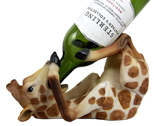 Atlantic Collectibles Safari Drunken Long Necked Giraffe Wine Bottle Holder Caddy Figurine