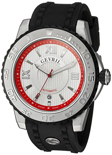 Gevril Seacloud Mens Swiss Automatic Black Rubber Strap Watch, (Model: 3113) by Gevril