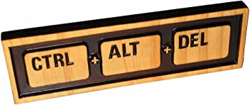 """ABI Woodworking """"Ctrl Alt Del"""" (Reboot), Decorative Wood Sign Plaque, Carved & Stained, 10"""" x 3"""""""