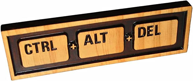 """""""Ctrl Alt Del"""" (Reboot), Decorative Wood Sign Plaque, Carved & Stained, 10"""" x 3"""""""