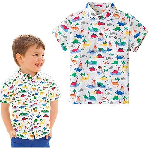Jobakids Boys Dinosaurs Printed Casual Polo Shirt Summer Short Sleeve Button-Down Dress Shirts(Dinosaur,4T)