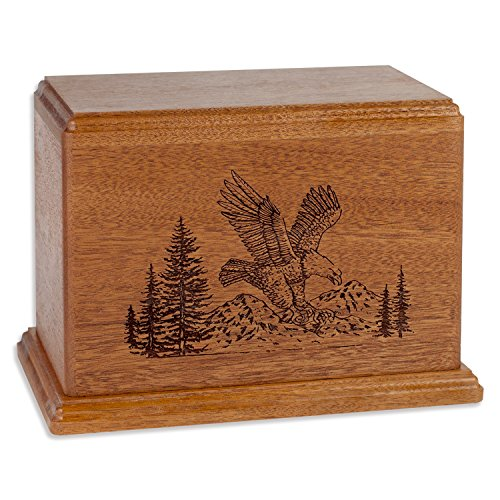 Etch Urn (American Eagle Memorial Cremation Urn Made in the USA from Premium Solid Wood & Laser Carved with Soaring Eagle (Standard Adult (200 cubic inches), Mahogany))