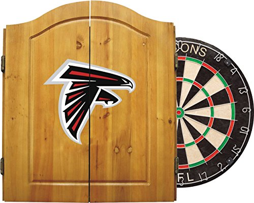 Atlanta Falcons Cabinet - Imperial Officially Licensed NFL Merchandise: Dart Cabinet Set with Steel Tip Bristle Dartboard and Darts, Atlanta Falcons