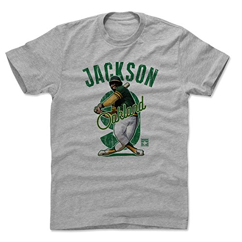 500 LEVEL Reggie Jackson Cotton Shirt (Medium, Heather Gray) - Oakland Athletics Men's Apparel - Reggie Jackson Arch G (Jackson Reggie Shirts)