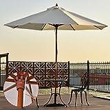UBRTools Count Garden Sun Shade Beige Adjustable 10FT Wooden Umbrella Wood Pole Outdoor Patio Garde, Refer Images