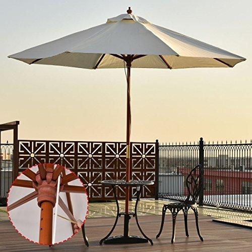 UBRTools Adjustable 10FT Wooden Umbrella Wood Pole Outdoor Patio Garden Sun Shade Beige ()
