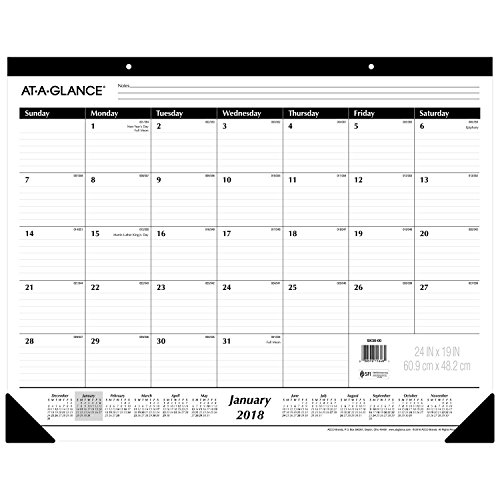 "AT-A-GLANCE Monthly Desk Pad Calendar, January 2018 - December 2018, 24"" x 19"", Ruled (SK3000)"